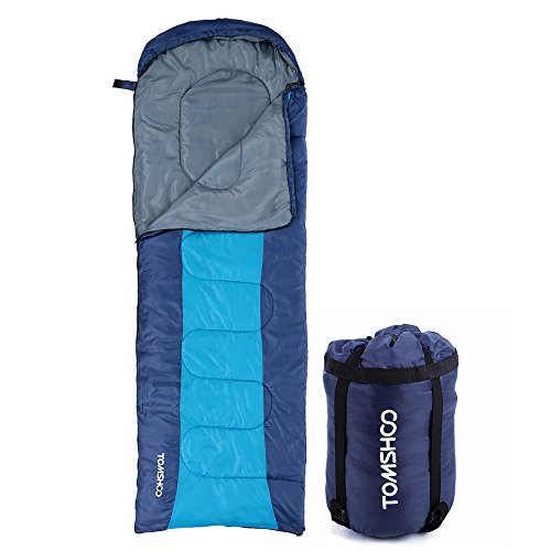 TOMSHOO Saco de dormir Encapuchado Grueso Térmico para Adultos de (190 + 30) X 75 CM Multifuncional para Acampada Senderismo Viajes Al aire libre 0-15 ℃