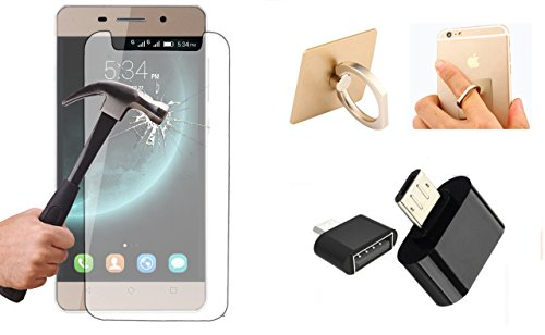 Tempered Glass for Xolo Play 8x-1200. SMM Tempered Glass and Along with OTG Smart Connection Kit and 360° Mobile Ring Stand for Xolo Play 8x-1200 (Transparent)