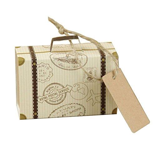 ZAK16810PCS mini valigia wedding favor Candy box, carta kraft vintage Candy box wedding favor box scatole regalo, As Shown, Taglia libera