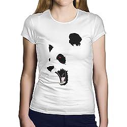 OKAPY Camiseta Panda Furioso. Una Camiseta de Mujer con La Cara de Un Oso Panda. Camiseta Friki de Color Blanca