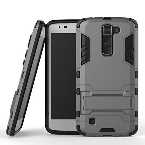 WindCase LG K7 Case, LG Tribute 5 Hülle, Hybrid Tasche Heavy Duty Defender [Drop Resistance] Dual Layer TPU +PC Case Ständer Schutzhülle für LG K7 / Tribute 5 Grau (Lg Tribute Defender Case Bling)