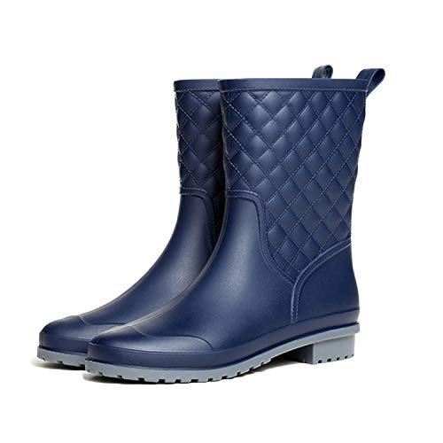visionreast Damen Regenstiefel Halbschaft Gummistiefel Rutschfeste Gartenschuhe Wasserdichte Arbeitsgummistiefel Outdoor Boots Schwarz Blau Beige