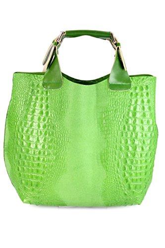 Belli sac à main en cuir ® étui de protection exclusive en cuir croco mix couleur au choix :  41 x 32 x 15 cm (l x h x p) Vert - Apfelgrün