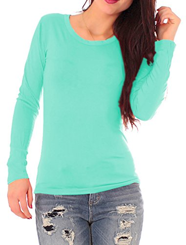 Easy Young Fashion Damen Basic Langarm Shirt Rundhals Aqua