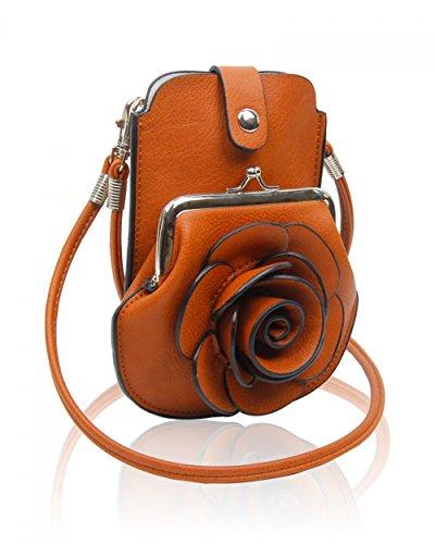 LeahWard® MINI Größe!!! Damen Mode Essener Blume Umhängetasche Qualität Kunstleder Bote Party Tasche Handtasche CWF003 CWF5348 D.Grau Umhängetasche