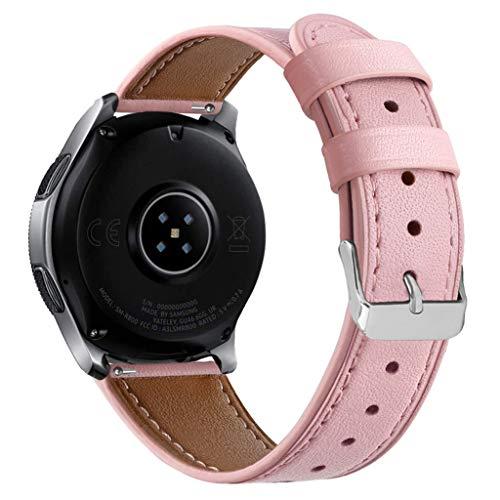 Vamoro Lederarmband Ersatzband Ersatz Lederband Armband Uhrenarmband für Samsung Watch 46mm Ersatz Uhren-Armband Ersatzband Uhrenarmband(Rosa)