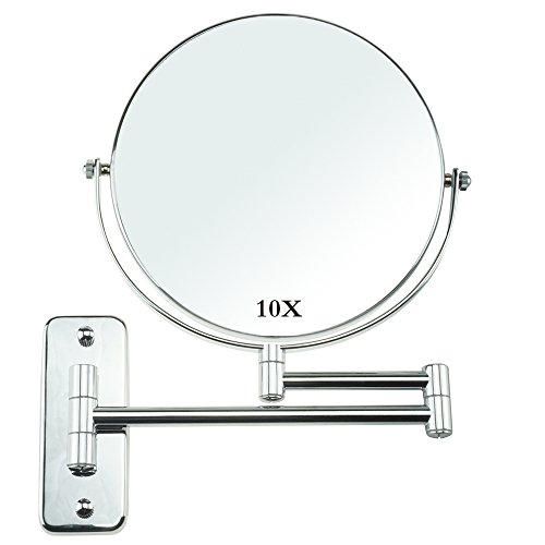 Espejo Tocador de Pared 10x Ampliación Doble Cara de 8 Pulgadas Espejos para baño Cromado afeitar