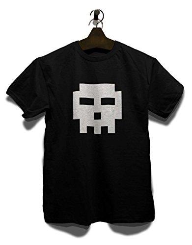 Pixel Totenkopf T-Shirt Schwarz