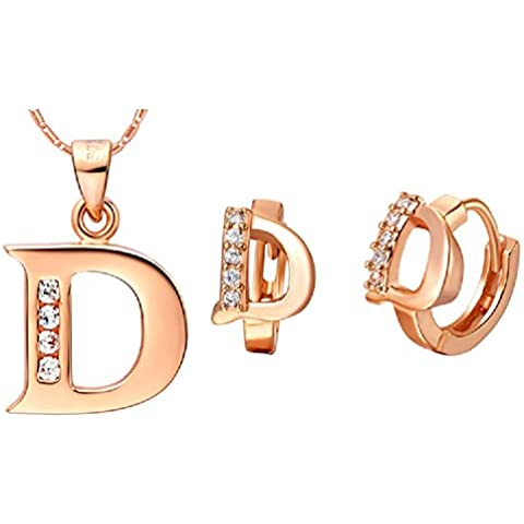 Bling fashion 18K oro rosa placcato 26lettere lettera D collana (Dragonfly 9 Accent)