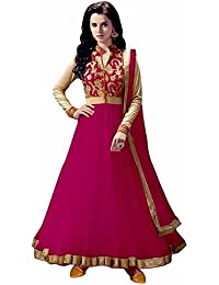 Rensila Women's Dark Pink & Beige Color Banglori Silk & Net Fabric Anarkali Salwar Suit