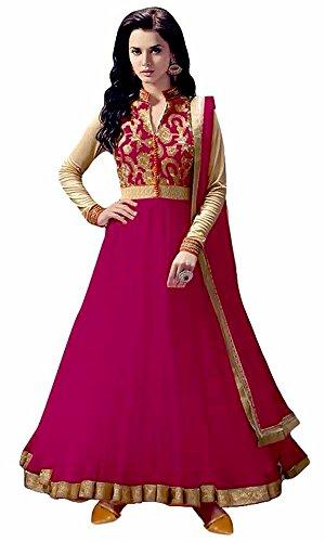 Great Indian Sale anarkali suits for women party wear Clothing Banglori Silk Fabric Salwar Suit With Dupatta (Rangel raniASS , Dark Pink , Free Size )