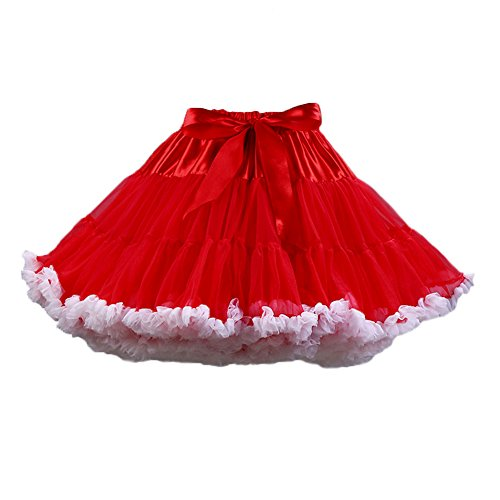 PhilaeEC Frauen Tüll Petticoat Tutu Party Multi-Layer Puffy Cosplay Tanz Rock(Rot+Weiß)