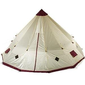 skandika tipii teepee tent with sewn in groundsheet - sand/burgundy, 12 person