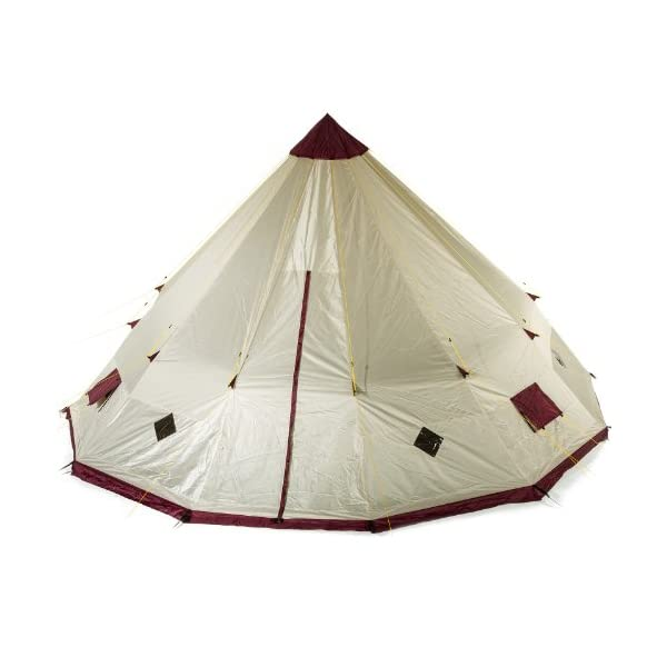 Skandika Teepee 301 Wigwam Style Indiana Tepee Tent, Sewn-In Groundsheet, 300 cm Peak Height, 3000 mm Water Column, Sand/Burgundy, 12-Person 1
