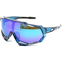EnzoDate Ciclismo gafas de sol UV400 polarizado 3/4 kit de lentes de descenso carrera motos gafas de carrera desgaste con casco deportes al aire libre (azul, 4 lente (1 polarizado))