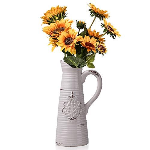Teresa's Collections Keramik Blumenvasen, 26.5 cm Vintage weiß Kanne mit Griff für Wohnzimmer, Küche, Tisch, Zuhause, Büro, Hochzeit, Herzstück oder als Geschenk MEHRWEG VERPACKUNG (Tisch Blumen-mittelstück Hochzeit)