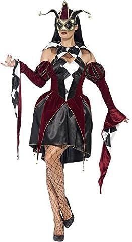 Smiffys, Damen Gothic Venezianischer Harlekin Kostüm, Kleid, Ärmel und Kragen, Größe: S, 43652 (Venedig Karneval Kostüme Uk)
