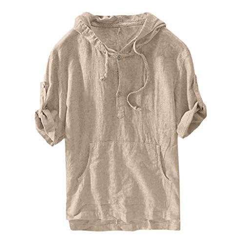 sual Herren Sommer Lässige Kurzarm T-Shirts Mode Solid Color Kapuze Retro T Shirts Bequem Atmungsaktiv Dünn und leicht Freizeithemd ()