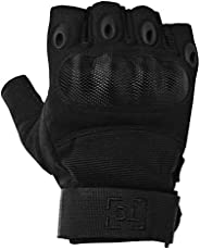 TG Hellfox Fingerless Tactical Gloves for Men Hard Knuckle for Military Police Combat Motorcycle Outdoors Camp