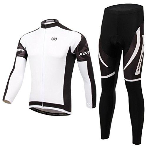 Baymate Unisex Mountain Bike Radfahren Radtrikot Set Lang Ärmel Jacke Hose Winddicht Fahrrad Kleidung Weiß L