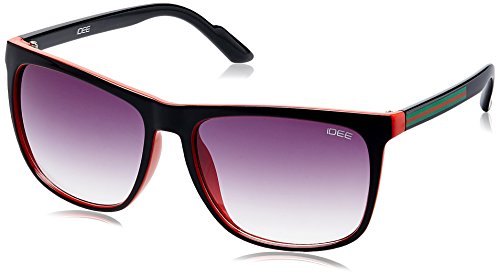 IDEE Square Sunglasses (IDS1884C3SG|100|Shiny Black, Red and Green ) image