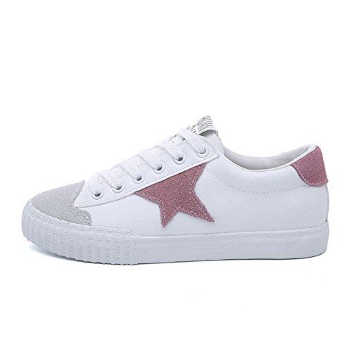 Damen Flache Sneaker Modische Skateboard Schnürschuhe Mit Stern Zeichnung Und Wildlederoptik Kopf Pink