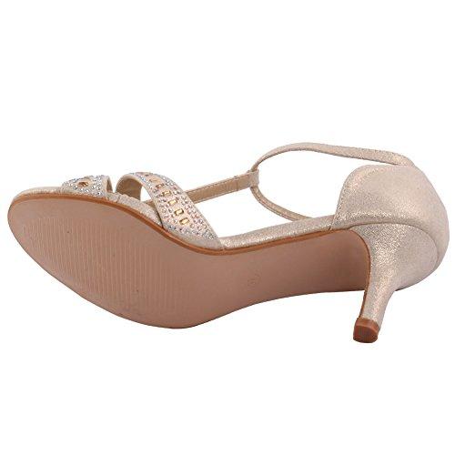 Unze Femmes 'Shelton' Diamante Embellie Peep-Toe Mid High talon aiguille Soirée Soirée Carnival Get Together Brunch mariage Talon Sandales Court Shoes Taille 3-8 Or