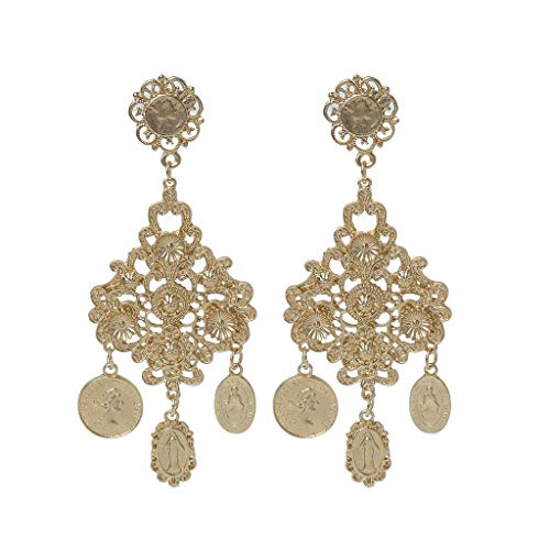 Jiamins Ohrringe Hängend - Barocke Stammes Seltene Münze Jungfrau Mary Goldton Baumeln Modeschmuck Ohrringe Für Damen,9 X 3.5 Cm/3.5