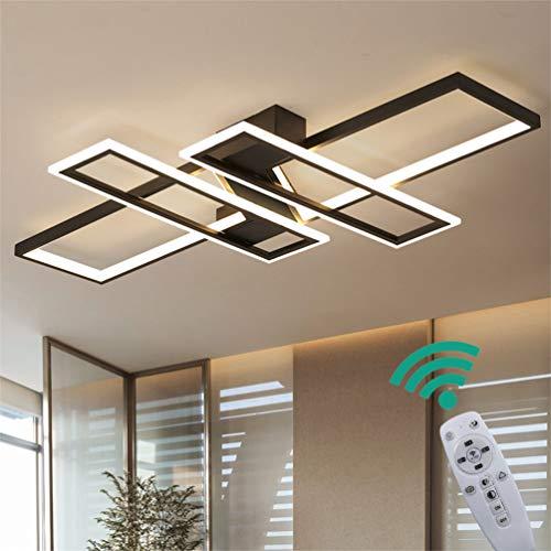 LED Modern Deckenlampe Wohnzimmerlampe Dimmbar mit Fernbedienung, Oval Design 3-ring Deckenleuchte Metal Acryl Kronleuchter für Schlafzimmer Esszimmer Bad Küche Decken Lampen L95*W65*H9cm (Schwarz)