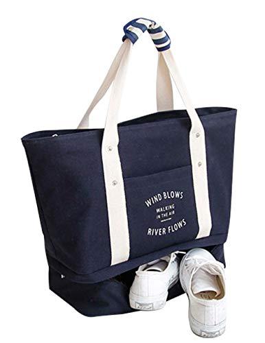 Malirona Bolsa de viaje grande 2-en-1 Bolsa de la playa con zapatos Bolsa de playa de la lona del organizador (Azul profundo)