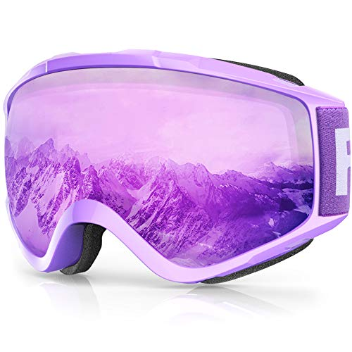 findway Skibrille, Snowboard Brille für Brillenträger Herren Damen Erwachsene Jugendliche OTG UV-Schutz Kompatibler Helm Anti Fog Skibrillen Sphärisch Verspiegelt (Lila Silber (VLT 28{457fb0410ba9a8d09cb5f86efa1a250e1395efe6dd1aafac33c0b69ca4caf096}))