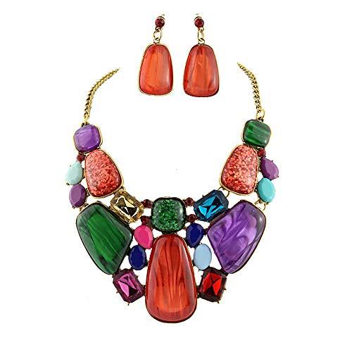 Ende der Wüste Harz Strass Farbe Halskette Ohrringe Set Mode Neue Ohrringe Schmuck-Set (Farbe : A)