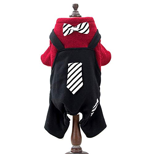IF.HLMF Pet Clothes, Winter Warm Teddy Boy Puppy Gentleman Costume Small Dogs Cotton Coat (Color : RED, Size : L)