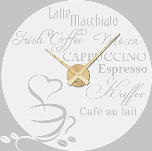 Wandtattoo mit Uhrwerk Kaffee Sorten - Außergewöhnliche Wanduhren Mocca Cappuccino Coffee - Küchenuhr Kaffee Design / 58x57cm / 800515_GD_010 - Cappuccino Küchenuhr