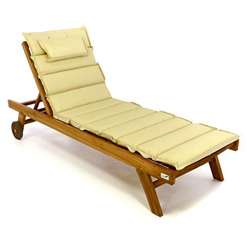 Divero Set Sonnenliege Holzliege Gartenliege Teakholz behandelt inkl. Räder, verstellbares...