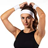 Freshkeychain Premium Schweißband Set - rutschfestes Stirnband und 2 hochwertige Schweißbänder für's Handgelenk - Dein 3er Vorteilspack (weiß)