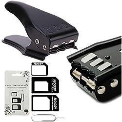 MMOBIEL Cortador Universal 3 en 1 para Tarjeta SIM estándar/Micro/Nano para Todos los simkarten de Smartphones/Tablets 3 Adaptadores SIM + 1 Aguja de expulsión para SIM
