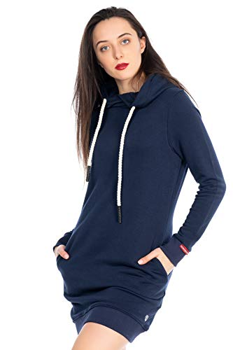 KENNY BROWN Damen Pulli-Kleid Sweater Pullover-Kleid Sweatkleid Kordel-Kapuze Hoodie einfarbig modisch Minikleid 502 (Navy-Blau, M)