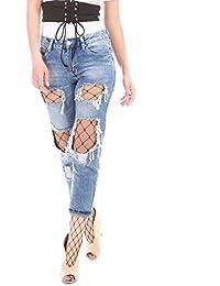 La Modeuse - Jeans destroy avec collants résille à maille large noir