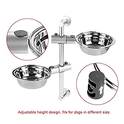 ZZQ Stainless Steel Dogs Bowls Adjustable Raised Pet Lifting Bowl Height Elevated Dog Double Bowls Food Stand Feeder Elevated Double Pet Bowls Adjustable Stainless Steel by ZZQ