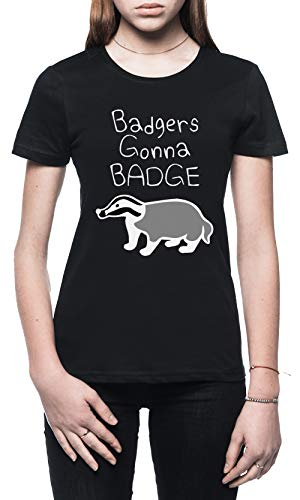 Badgers Gonna Badge Damen T-Shirt Schwarz Größe L - Women's T-Shirt Black - Dachs Womens T-shirt