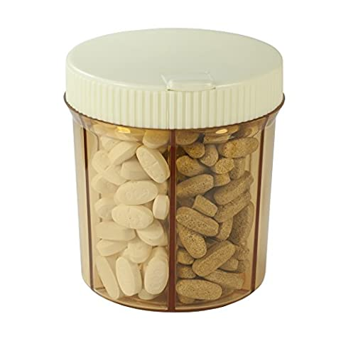 GMS Vitanizer - 6 Compartment Pill Organizer / Vitamin Organizer with Easy Turn Lid and Self Adhesive Labels by GMS