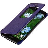 kwmobile Funda para LG G2 Mini - Case estilo libro de cuero sintético con ventanilla - Flip Cover plegable violeta