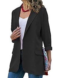 aeaddb73b1340 laamei Femmes Chic Élégant Vestes de Tailleur Blazer Bureau Business Jacket  Manche Longue Slim Élégant Petite
