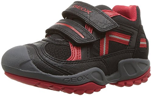 Geox Jungen J New Savage Boy A Sneaker, Schwarz (Black/Red), 34 EU (Boys Red Turnschuhe)