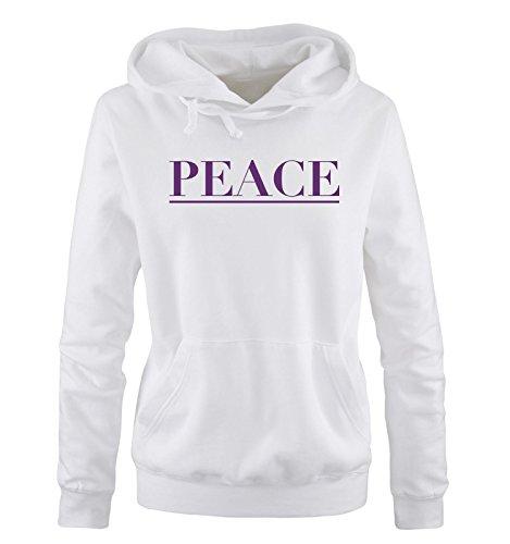 Comedy Shirts - PEACE - Damen Hoodie - Weiss / Lila Gr. XL (Hoodie Lila Peace)