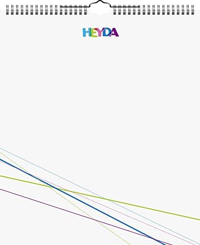 Heyda 2070481 Bastel-/Kreativkalender, 13 Monatsblätter, 297 x 350 mm, Kalendarium immerwährend, Wire-O-Bindung mit Aufhänger, Deckblatt weiß