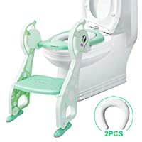 Chairlin Potty Toilet Seat Adjustable Baby Toddler Kid Toilet Trainer with Step Stool Ladder for Boy and Girl with 2 Pillows (Green)