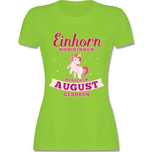 Shirtracer Geburtstag - Einhorn Königinnen Wurden IM August Geboren - Damen T-Shirt Rundhals Hellgrün