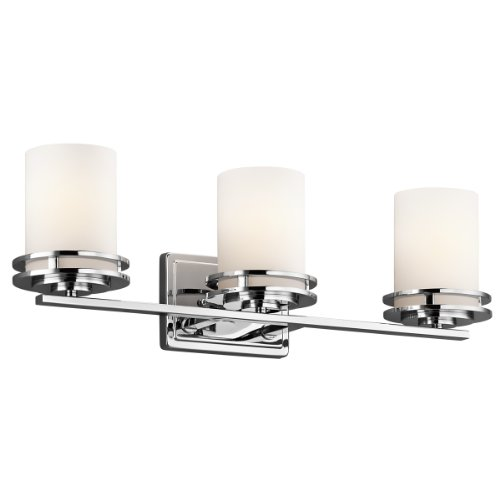 Chrome Vanity (Kichler Lighting 5078CH Hendrik 3-Light Vanity Fixture, Chrome Finish with Satin Etched Cased Opal Glass by Kichler)